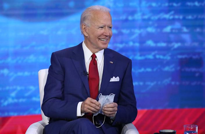 """Democratic presidential nominee Joe Biden on Oct. 15, 2020 in Philadelphia, during ABC's """"The Vice President and the People"""" <span class=""""copyright"""">ABC via Getty Images—2020 American Broadcasting Companies, Inc.</span>"""