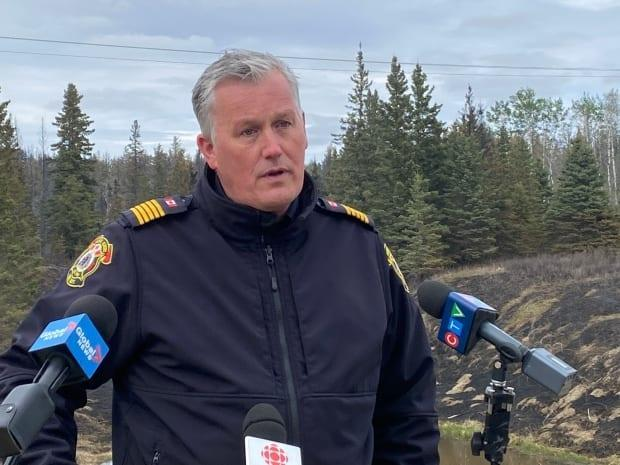 Kris Olsen, chief of the Prince Albert Fire Department, updates the media on the Cloverdale wildfire cleanup on Thursday.