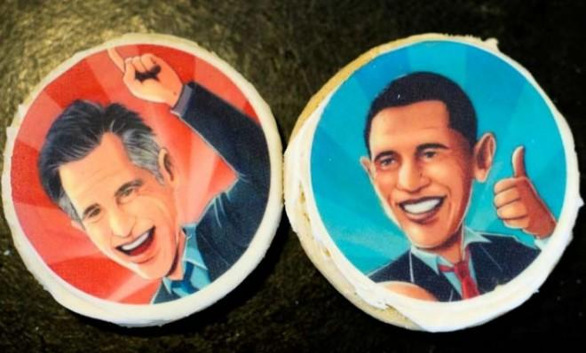 Formal rivals Barack Obama and Mitt Romney are meeting for lunch: Might they chow down on these cookies depicting their faces?