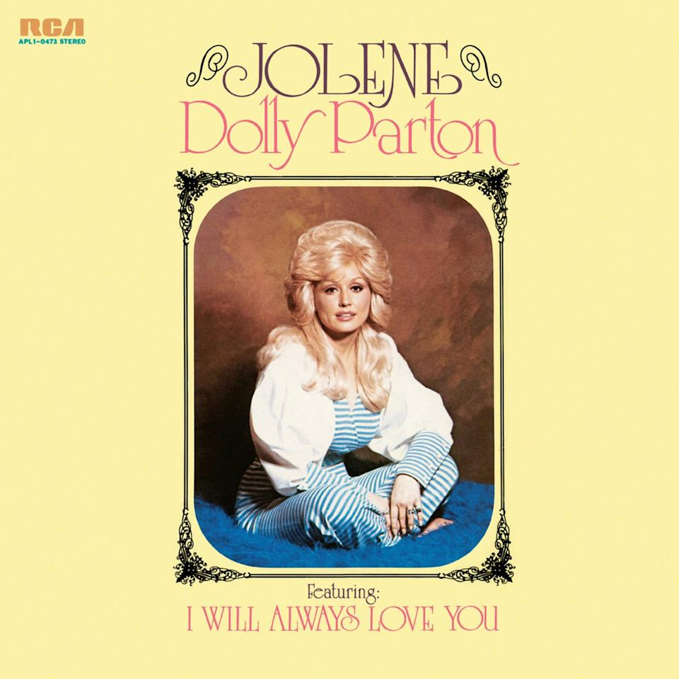 """Yellow album cover for """"Jolene"""" by Dolly Parton, released in 1974."""