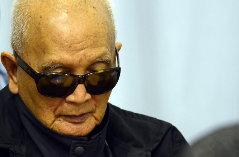 """This handout photo taken and released by the Extraordinary Chamber in the Courts of Cambodia (ECCC) on March 19, 2012 shows former Khmer Rouge leader Nuon Chea """"Brother Number Two"""" sitting in the courtroom at the ECCC in Phnom Penh"""