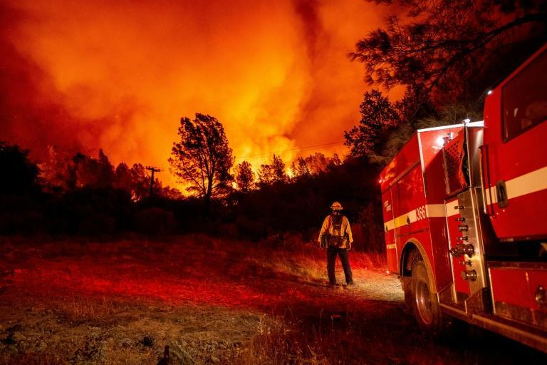 Firefighters battling a fire north of Lake Oroville in California in September 2020 (AFP/JOSH EDELSON)