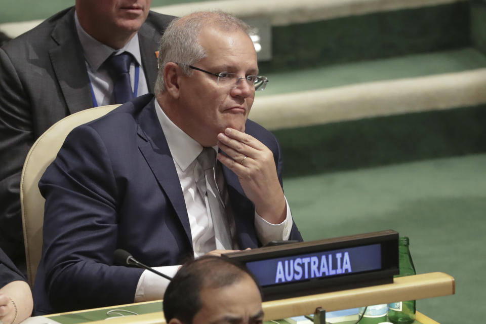 Australian Prime Minister Scott Morrison attends the United Nations General Assembly meeting in New York, September 24, 2019. (Photo by Alex Ellinghausen/The Sydney Morning Herald via Getty Images)