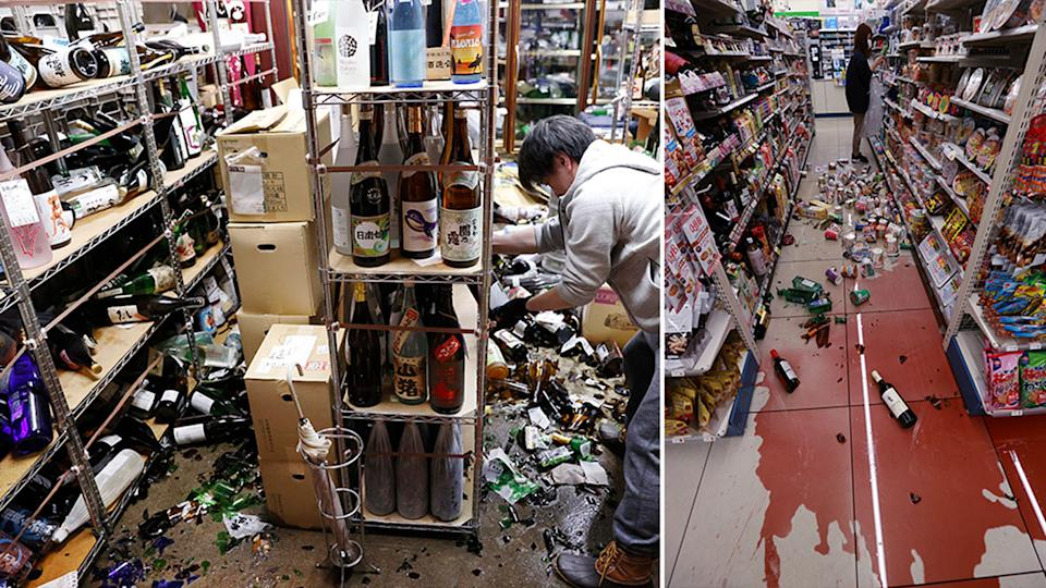 Broken glass bottle strewn across the floor at a store in Japan following a strong 'aftershock'.