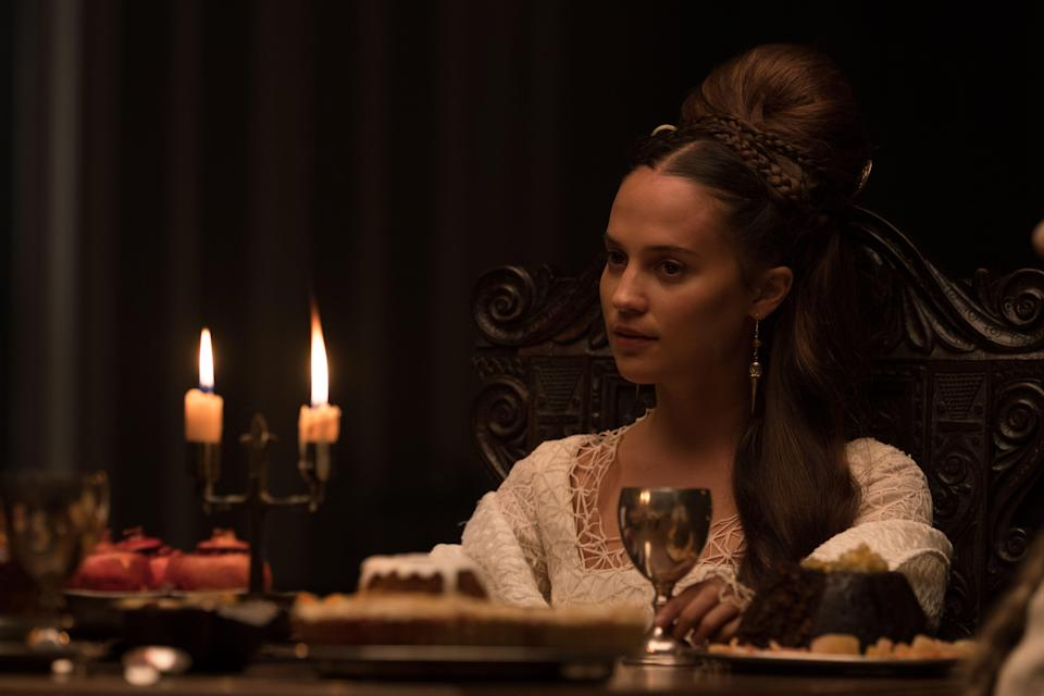 """""""I very much enjoyed trying to create two really distinct characters,"""" says Alicia Vikander, pictured as the alluring Lady in """"The Green Knight."""""""