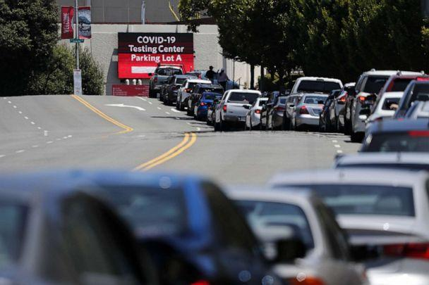 PHOTO: Vehicles line up at a drive-through COVID-19 testing facility operated by the Hayward Fire Department on the California State University East Bay campus in Hayward, Calif., July 2, 2020. (John G. Mabanglo/EPA via Shutterstock)
