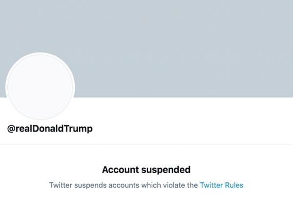 Screengrab of permanently suspended Twitter account of U.S. President Donald Trump