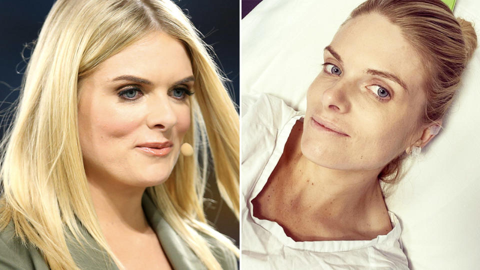 Erin Molan, pictured here in hospital.