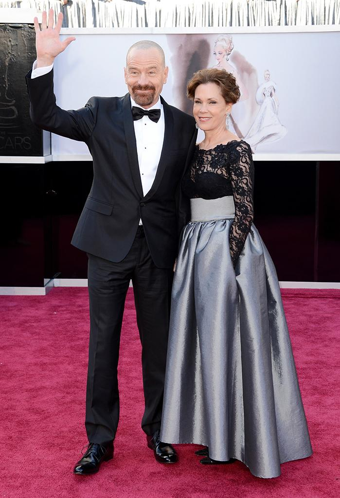 Bryan Cranston and wife Robin Dearden arrive at the Oscars in Hollywood, California, on February 24, 2013.