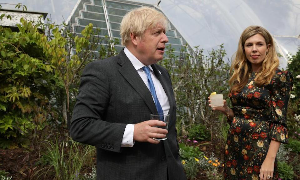 Boris Johnson and his wife, Carrie Johnson, attend a reception at the Eden Project in Cornwall, England.