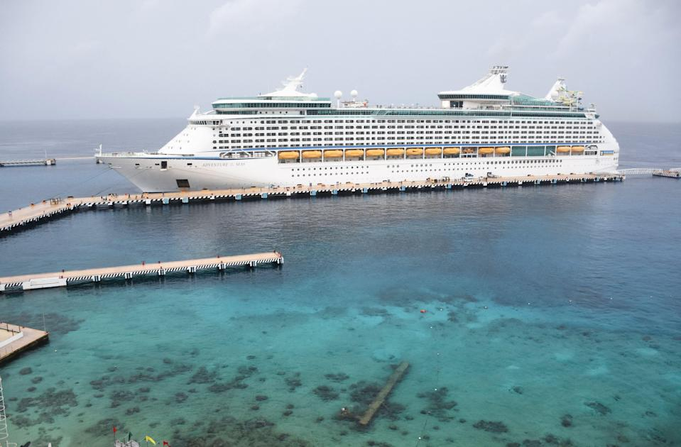 The Royal Caribbean cruise ship 'Adventure of the Seas,' the first cruise to arrive in Mexico since the beginning of Covid-19 pandemic, remains docked in the island of Cozumel, off the coast of Mexico's Quintana Roo State, on 16, June, 2021.  (AFP via Getty Images)