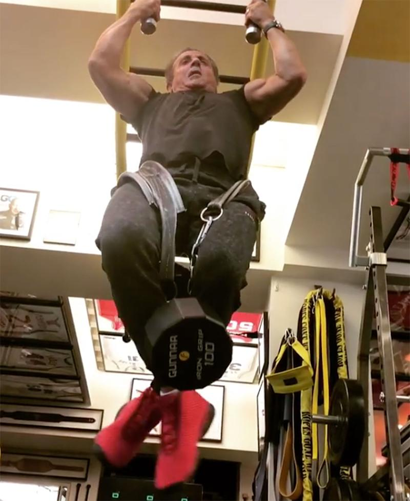 Watch Sylvester Stallone Crush 100-Pound Weighted Pull-Ups at 71 Years Old