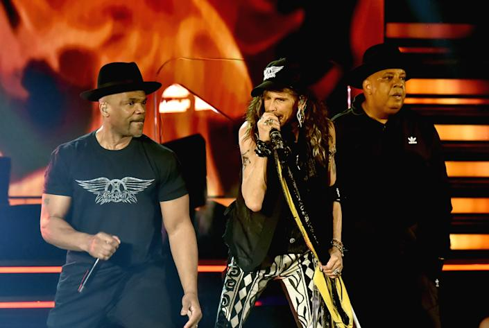 Steven Tyler of Aerosmith (C) with Darryl McDaniels and Joseph Simmons of Run-DMC perform during the 62nd Annual GRAMMY Awards on January 26, 2020 in Los Angeles, California. | FilmMagic—2020 Jeff Kravitz