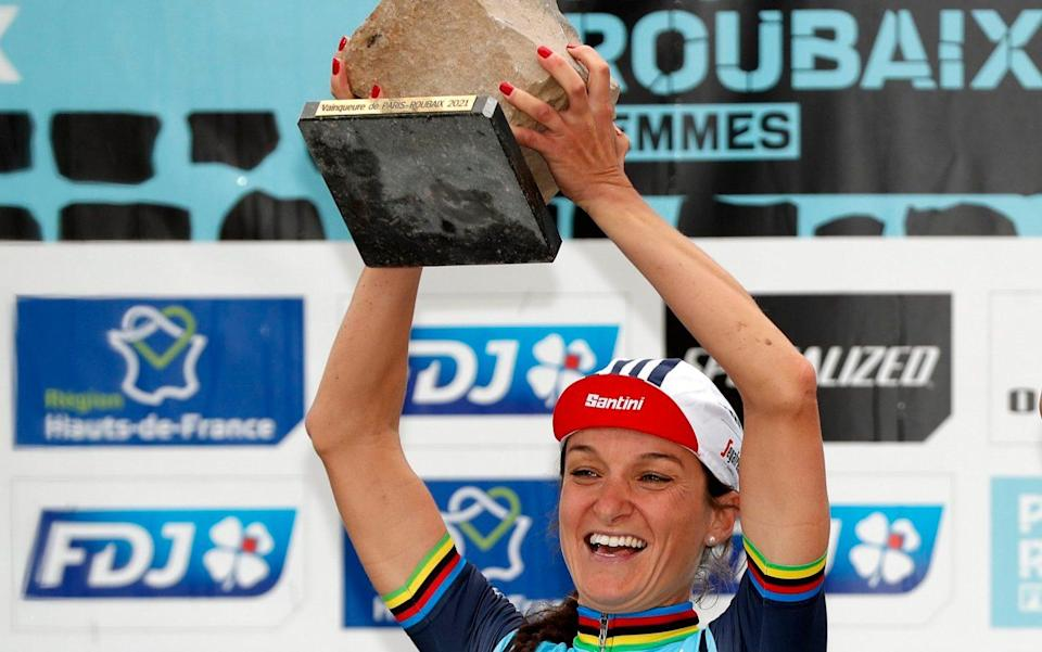 Lizzie Deignan enters cycling folklore as Briton wins inaugural edition of women's Paris-Roubaix - GETTY IMAGES