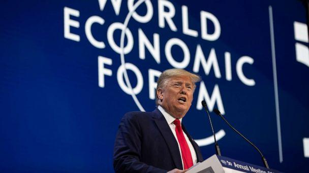 PHOTO: U.S. President Donald Trump delivers the opening remarks at the World Economic Forum in Davos, Switzerland, Jan. 21, 2020. (Evan Vucci/AP)