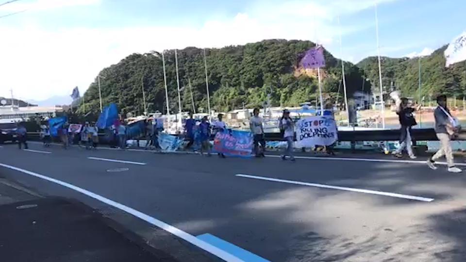 A protest march on the other side of a narrow Japanese road. Hills and water in the background.