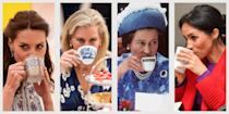 "<p>For those of us stateside, there are few things more quintessentially British than afternoon tea and the House of Windsor—and when combined, their courtly charm is unstoppable. Below, some very calming photos of <a href=""https://www.townandcountrymag.com/society/a20736482/british-royal-family-tree/"" rel=""nofollow noopener"" target=""_blank"" data-ylk=""slk:the royal family"" class=""link rapid-noclick-resp"">the royal family</a> sipping tea.</p>"