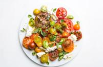 "Real talk: This is a dish to make when the tomatoes are peaking—at the farmers' market, you should be able to smell them before you see them. The moment only comes around once a year, so make the most of it (which is to say, do very little with them). This is part of <a href=""http://www.bonappetit.com/collection/best?mbid=synd_yahoo_rss"" rel=""nofollow noopener"" target=""_blank"" data-ylk=""slk:BA's Best"" class=""link rapid-noclick-resp"">BA's Best</a>, a collection of our essential recipes. <a href=""https://www.bonappetit.com/recipe/ultimate-caprese-salad?mbid=synd_yahoo_rss"" rel=""nofollow noopener"" target=""_blank"" data-ylk=""slk:See recipe."" class=""link rapid-noclick-resp"">See recipe.</a>"