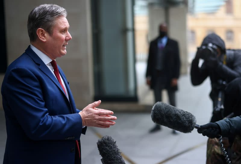 British Labour Party leader Keir Starmer speaks to members of the media, in London