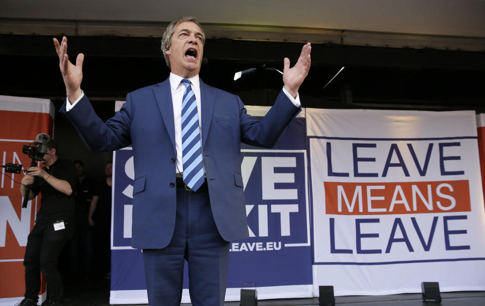"""Former UKIP leader Nigel Farage speaks at a rally in Parliament Square after the final leg of the """"March to Leave"""" in London, Friday, March 29, 2019. The protest march which started on March 16 in Sunderland, north east England, finishes on Friday March 29 in Parliament Square, London, on what was the original date for Brexit to happen before the recent extension. (AP Photo/Tim Ireland)"""