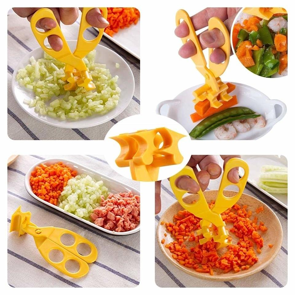"""Safe to keep in a diaper bag or have out at the dinner table, these clever scissors will quickly cut food into really teeny-tiny pieces — something your fork and knife have never mastered.<br /><br /><strong>Promising review:</strong>""""It's hard to cut foods very small using knives, so I couldn't believe I could cut foods very small, evenly using these small plastic scissors. Also it's very easy to clean.<strong>The clear plastic case is included, so I can bring it to anywhere I want to.</strong>I'm pretty satisfied with my purchase!"""" —<a href=""""https://www.amazon.com/dp/B075BJMFF8?tag=huffpost-bfsyndication-20&ascsubtag=5871416%2C16%2C27%2Cd%2C0%2C0%2C0%2C962%3A1%3B901%3A2%3B900%3A2%3B974%3A3%3B975%3A2%3B982%3A2%2C16385828%2C0"""" target=""""_blank"""" rel=""""noopener noreferrer"""">DD</a><br /><strong><br />Get it from Amazon for<a href=""""https://www.amazon.com/dp/B075BJMFF8?tag=huffpost-bfsyndication-20&ascsubtag=5871416%2C16%2C27%2Cd%2C0%2C0%2C0%2C962%3A1%3B901%3A2%3B900%3A2%3B974%3A3%3B975%3A2%3B982%3A2%2C16385828%2C0"""" target=""""_blank"""" rel=""""noopener noreferrer"""">$9.90</a>.</strong>"""