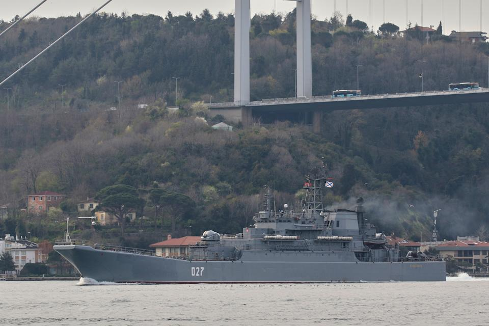 The Russian Navy's Ropucha-class landing ship Kondopoga passes through the Bosphorus on its way to the Black Sea, in Istanbul.