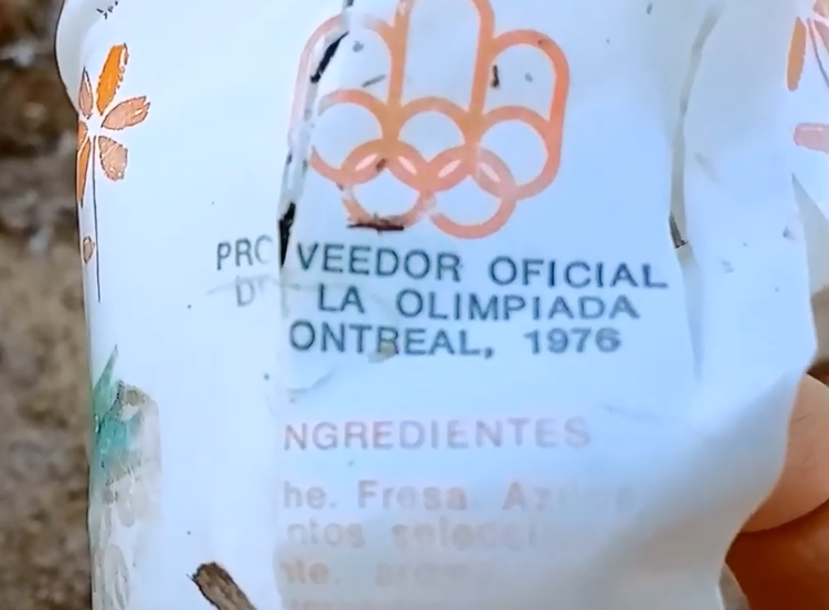 A logo from the 1976 Montreal Olympics is printed on the container. Source: Maite Mompó
