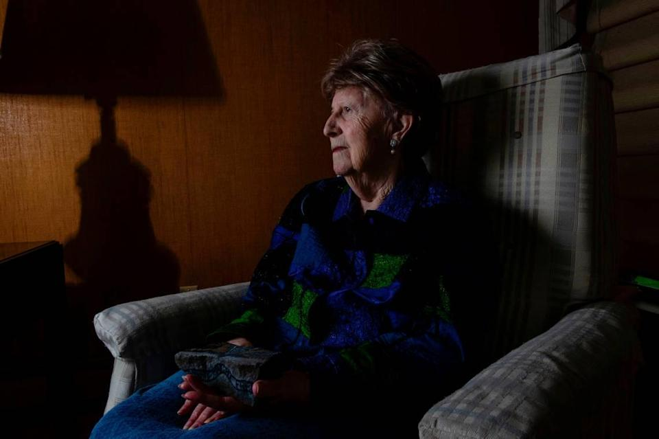 """Elizabeth Nussbaum, 93, in her Overland Park home on Friday. At 16, Nussbaum and her family were sent to the Auschwitz concentration camp, and she was the only one to survive. """"Animals kill for food, and some people kill for fun"""" she says."""