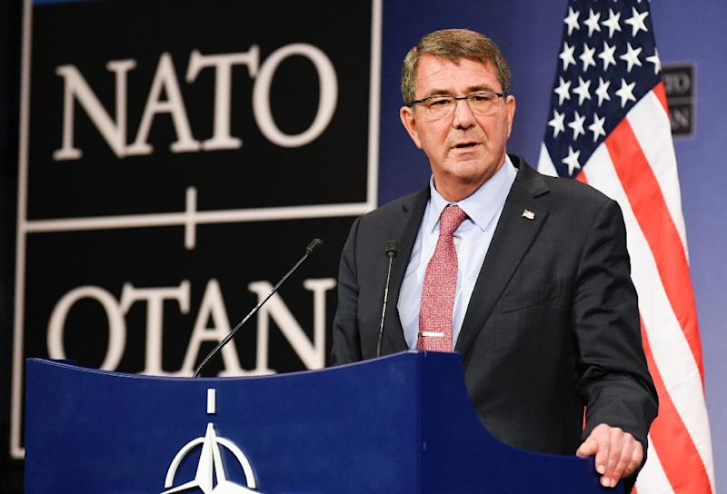 US defense minister Ashton Carter speaks at NATO Headquarters in Brussels on October 8, 2015 (AFP Photo/John Thys)