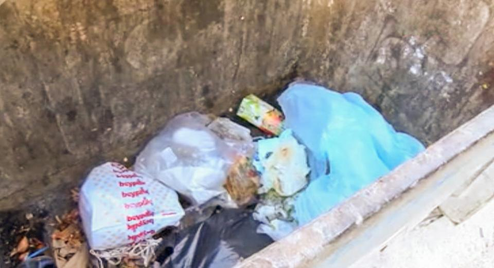 Plastic bags and other rubbish in the bin where the baby was left in Turkey.