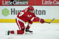Detroit Red Wings right wing Bobby Ryan shoots against the Carolina Hurricanes in the second period of an NHL hockey game Saturday, Jan. 16, 2021, in Detroit. Ryan scored on the play. (AP Photo/Paul Sancya)