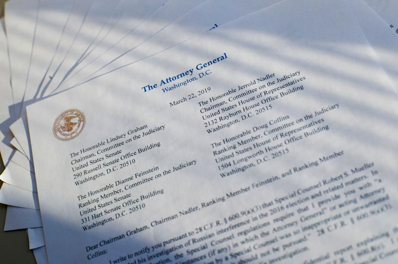 Copies of a letter from Attorney General William Barr, advising Congress that special counsel Robert Mueller has concluded his investigation, are shown Friday, March 22, 2019, in Washington. (Photo: Pablo Martinez Monsivais/AP)