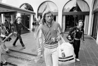 <p>Bjorn Borg being followed by a television crew at his hotel in London during Wimbledon in 1979.</p>