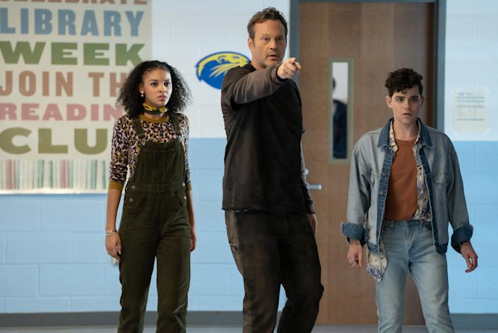 Vince Vaughn, center, in a scene from the new horror-comedy 'Freaky'