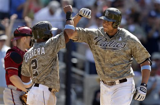 San Diego Padres' Kyle Blanks, right, bumps forearms with teammate Everth Cabrera after hitting a three-run home run hit during the eighth inning against the Arizona Diamondbacks in a baseball game on Sunday, June 16, 2013, in San Diego. The Padres won, 4-1. (AP Photo/Gregory Bull)
