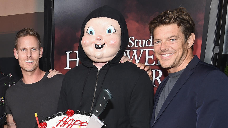 Christopher Landon and producer Jason Blum have worked together on numerous films, including the 'Happy Death Day' franchise. (Kevork Djansezian/Getty Images for Universal Studios Hollywood)