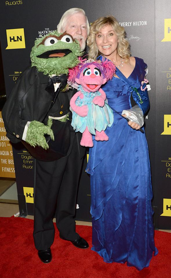 Leslie Carrara-Rudolph and Caroll Spinney arrive at The 39th Annual Daytime Emmy Awards held at The Beverly Hilton Hotel on June 23, 2012 in Beverly Hills, California.