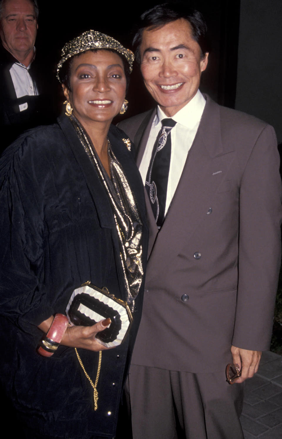 <p>Nichelle Nichols and George Takei on Dec. 3, 1991, in Hollywood. <i>Star Trek VI</i> would be their final big-screen appearances in their respective roles as Uhura and Sulu. <i>(Photo: Ron Galella/WireImage)</i></p>