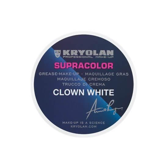 """<p>Like any clown, you'll want to start off with a painted white face. The base used on Skaarsgard in the film was <a href=""""https://www.popsugar.com/buy/Kryolan-Supracolor-Clown-White-500938?p_name=Kryolan%20Supracolor%20Clown%20White&retailer=camerareadycosmetics.com&pid=500938&price=7&evar1=bella%3Aus&evar9=46754302&evar98=https%3A%2F%2Fwww.popsugar.com%2Fbeauty%2Fphoto-gallery%2F46754302%2Fimage%2F46754303%2FStart-With-White-Base&list1=makeup%2Challoween%2Challoween%20costumes%2Cmakeup%20tutorials%2Cit%20chapter%20two%2Challoween%20costumes%202019&prop13=api&pdata=1"""" rel=""""nofollow"""" data-shoppable-link=""""1"""" target=""""_blank"""" class=""""ga-track"""" data-ga-category=""""Related"""" data-ga-label=""""https://camerareadycosmetics.com/products/kryolan-supracolor-clown-white"""" data-ga-action=""""In-Line Links"""">Kryolan Supracolor Clown White</a> ($7). Sansom says you can apply it with a disposable sponge and it will last all night because it's sweat resistant, but the company recommends you set it with a powder because it's highly transferable. </p> <p>To give the base the weathered, cracked look that Pennywise has in the movie, you can use an old toothbrush to splatter on gray paint.</p>"""