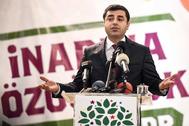 Selahattin Demirtas and his Peoples' Democratic Party (HDP) are the Turkish government's latest bete noire, accused of being a political front for outlawed Kurdish rebels engaged in a new armed campaign against the Turkish state (AFP Photo/Ozan Kose)