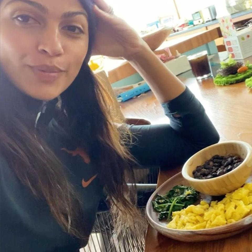 <p>The Women of Today founder, 38, shared her lunch of beans, scrambled eggs, and sauteed spinach.</p>
