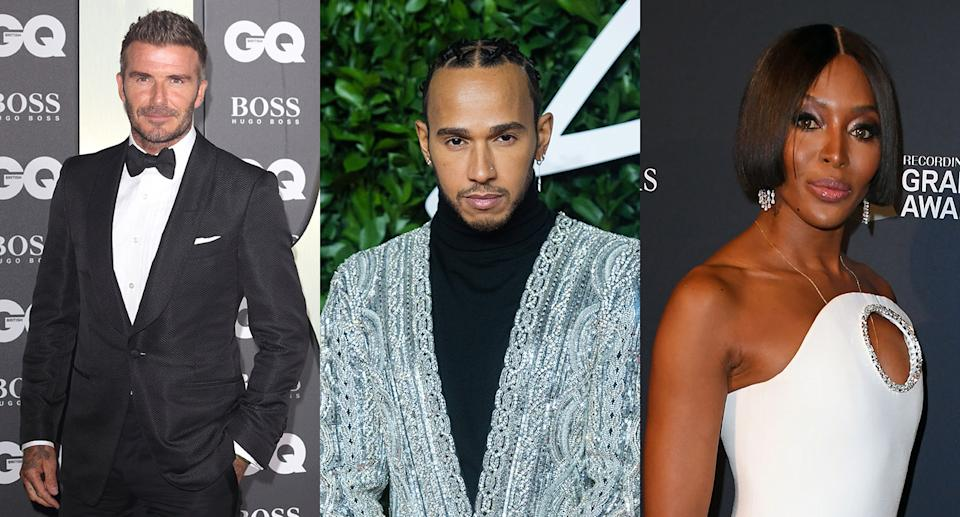 David Beckham, Lewis Hamilton and Naomi Campbell have all slammed the racist abuse. (Keith Mayhew/SOPA Images/LightRocket via Getty Images. Samir Hussein/WireImage. MARK RALSTON/AFP via Getty Images)