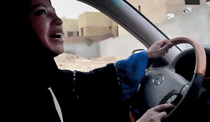 FILE - In this Friday, June 17, 2011 file image made from video released by Change.org, a Saudi Arabian woman drives a car as part of a campaign to defy Saudi Arabia's ban on women driving, in Riyadh, Saudi Arabia. Saudi Arabia's king granted women seats on the country's top advisory council for the first time on Friday, Jan. 11, 2013, giving them a long-awaited toehold in the ultraconservative kingdom's male-dominated political system. (AP Photo/Change.org, File) EDITORIAL USE ONLY, NO SALES