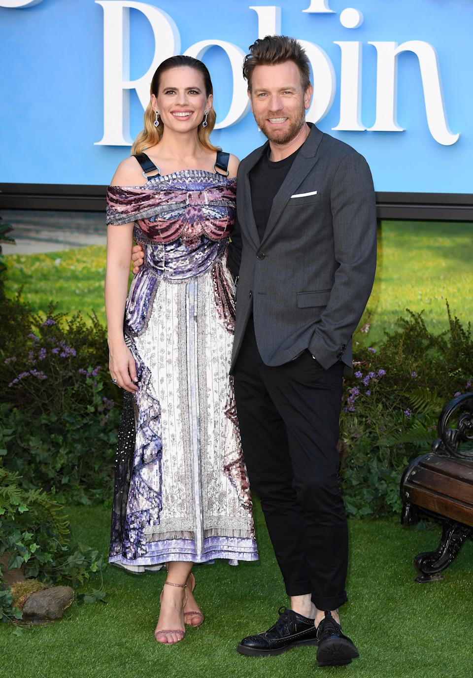 <p>Hayley opted for a printed dress by British label Mary Katrantzou while Ewan wore ankle-grazing trousers and a jacket. <em>[Photo: Getty]</em> </p>