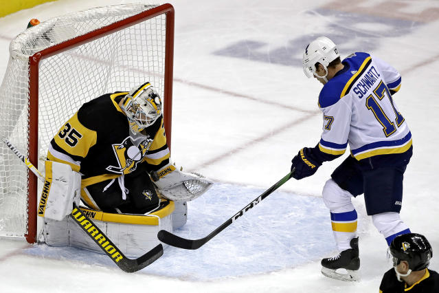 St. Louis Blues' Jaden Schwartz (17) can't get a shot past Pittsburgh Penguins goaltender Tristan Jarry (35) during the first period of an NHL hockey game in Pittsburgh, Wednesday, Dec. 4, 2019. (AP Photo/Gene J. Puskar)