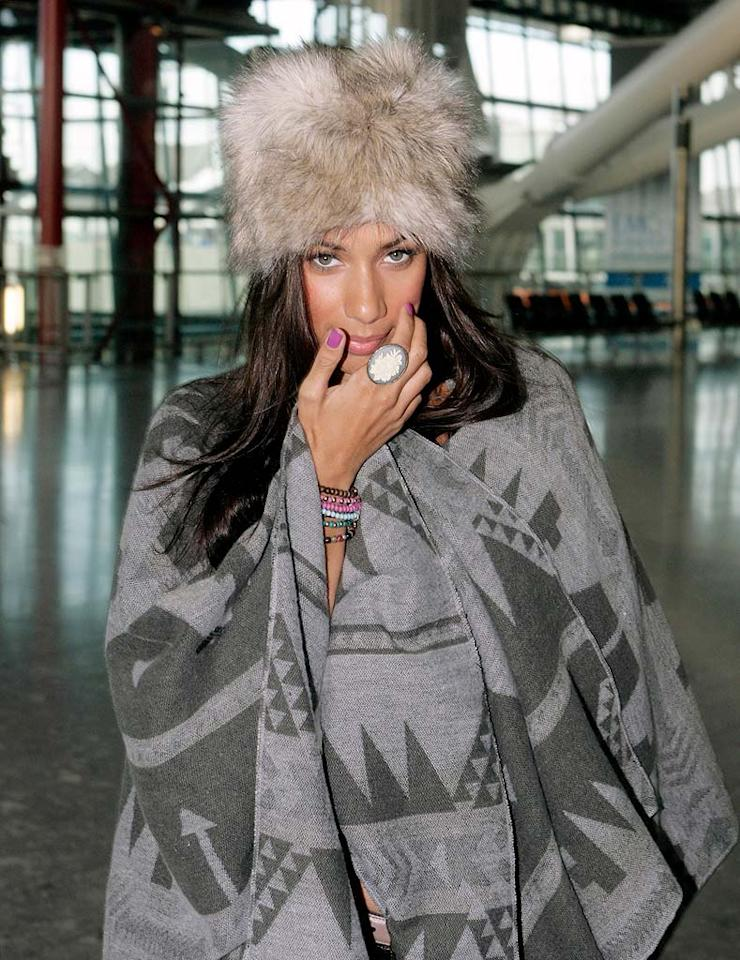 """It may be chilly in London, but former """"X Factor"""" winner Leona Lewis can definitely afford to bundle up in something more fashionable than this faux fur chapeau and patterned poncho. BigPictures/<a href=""""http://www.x17online.com"""" target=""""new"""">X17 Online</a> - November 10, 2010"""