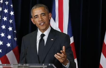 U.S. President Barack Obama speaks during a news conference with British Prime Minister David Cameron at the G7 Summit in Brussels