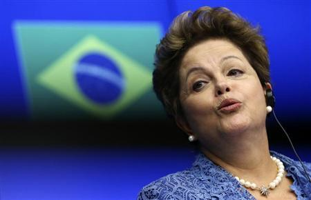 Brazil's President Rousseff speaks at a joint news conference during an EU-Brazil summit in Brussels