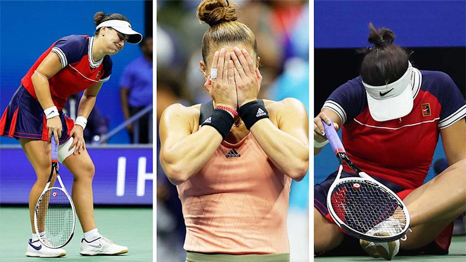 Bianca Andreescu (pictured left and right) falling down due to injury and Maria Sakkari (pictured middle) celebrating her US Open match win.