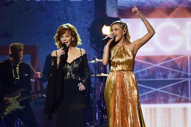 <p>Reba McEntire and Kelsea Ballerini perform onstage at the 51st annual CMA Awards at the Bridgestone Arena on November 8, 2017 in Nashville, Tennessee. (Photo by Rick Diamond/Getty Images) </p>